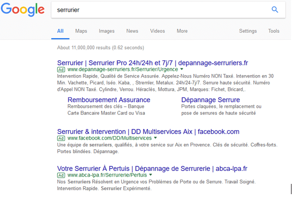 SEA; marketing; Google; résultat de recherche; communication